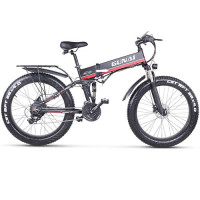 GUNAI MX01 1000W electric bicycle, 26-inch foldable mountain snow electric bicycle road bike, 21-speed disc brake, flashlight and removable lithium battery